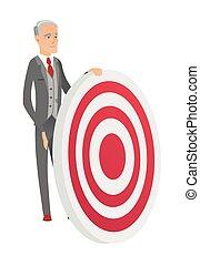 Senior caucasian businessman and dart board.