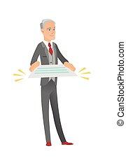 Senior caucasian businessman holding a contract.