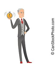 Senior caucasian businessman holding alarm clock. -...