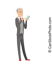 Senior caucasian businessman holding mobile phone.