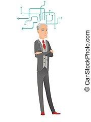 Senior caucasian businessman thinking. - Caucasian senior...