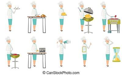 Senior caucasian chef vector illustrations set.