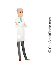 Senior caucasian confident doctor with folded arms. Full...