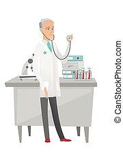 Senior caucasian doctor holding a stethoscope.