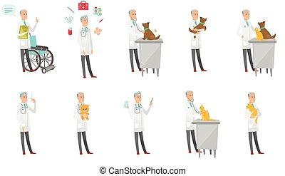 Senior caucasian doctor vector illustrations set.