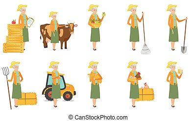 Senior caucasian farmer vector illustrations set.