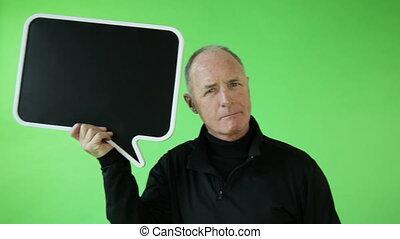 Senior caucasian sport man green screen confident with blank sign