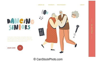 Senior Characters Couple Dancing Landing Page Template. Elderly People Active Lifestyle, Old Man and Woman in Relations