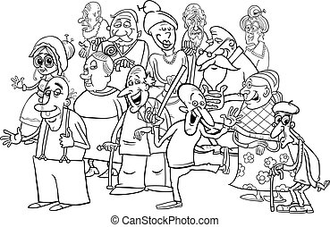 senior characters group cartoon coloring book