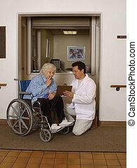 senior check-in - admitting senior to health facility...