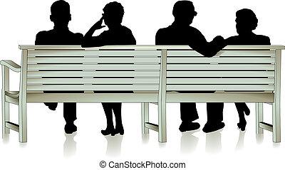 senior citizen and park bench