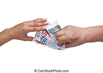 Senior citizen gives young woman  a bundle of money