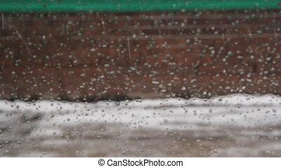 Senior citizen in snow. - Senior citizen walks by in the...