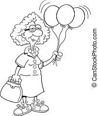 Black and white illustration of a senior citizen holding balloons.