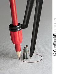 Senior citizen social distancing isolation concept