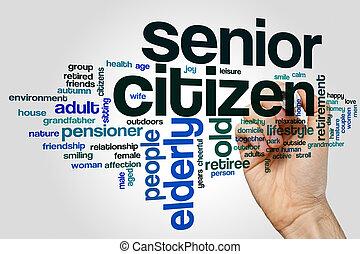 Senior citizen word cloud concept on grey background