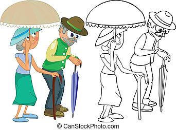 Senior Citizens. Color and outline illustration