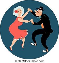 Senior citizens dancing Latin