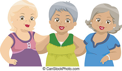 Senior Citizens Friends 2 - Illustration of Lady Senior...