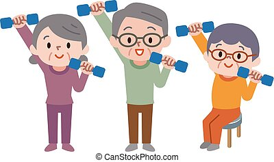 Senior citizens lifting dumbbells