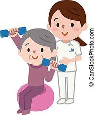 Senior citizens lifting dumbbells while sitting on exercise...