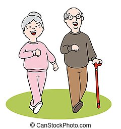 Senior Citizens Walking - An image of two seniors walking.