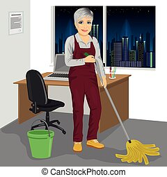 Senior cleaning woman mopping floor in office - Full length...