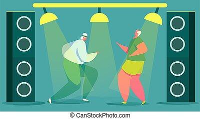 senior, club, actief, mensen, vector, illustratie, mannen, bejaarden, dancing