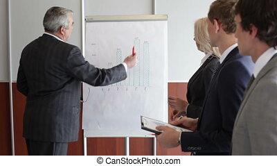 Senior coach - Senior businessman presenting the financial...