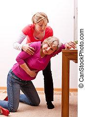 senior, collapses, indendørs