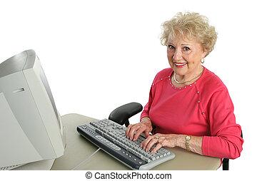 senior, computer, dame, verlustigt zich in
