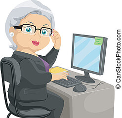 Senior Computer - Illustration Featuring an Elderly Woman...