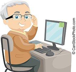 Senior Computer - Illustration Featuring an Elderly Male...