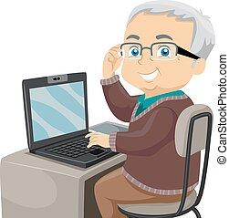 Senior Computer - Illustration Featuring an Elderly Male ...