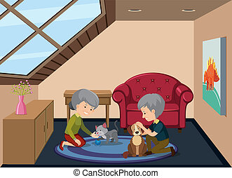 Senior couple and pet at attic illustration