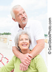 Senior couple at beach