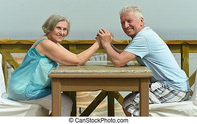 Senior couple at beach