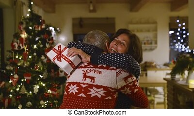 Senior couple at Christmas time.