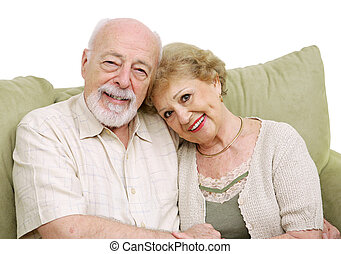 Senior Couple At Home - An attractive senior couple at home...
