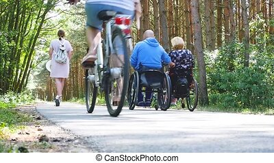 Senior couple both with wheelchair walking in autumn nature.