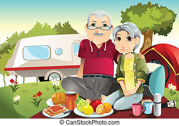 A vector illustration of senior couple camping and having a picnic