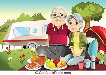 Senior couple camping - A vector illustration of senior...