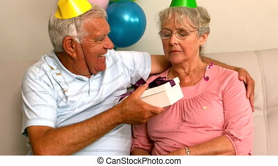 Senior couple celebrating a birthda