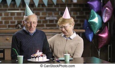 Senior couple celebrating birthday at the table