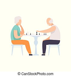 Senior couple characters playing chess, elderly people leading an active lifestyle social concept vector Illustration on a white background