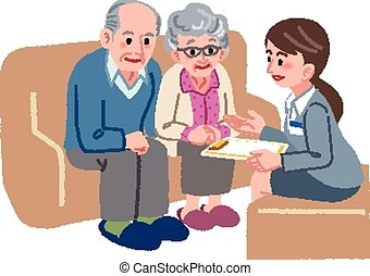 Senior couple consulting - Elderly couple consults with...