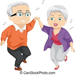 Senior Couple Dance - Illustration of an Elderly Couple ...