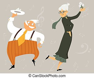 Senior couple dancing - Funny cartoon senior couple dancing,...