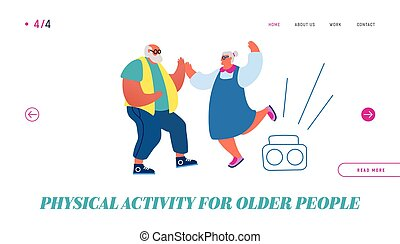 Senior Couple Dancing Landing Page. Elderly People Active Lifestyle, Old Stylish Man and Woman Spend Time Together