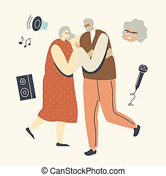 Senior Couple Dancing Sparetime, Elderly People Active Lifestyle, Old Man and Woman in Loving or Friendly Relations